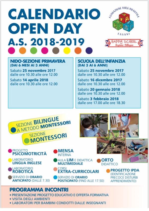 Calendario Bambini Scuola Infanzia.Calendario Open Day Fasani Bresciabimbi