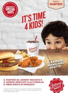 Johnny Rockets Special days. It's time 4 kids - I bambini mangiano gratis @ Johnny Rockets - Centro Commerciale Elnos Shopping | Lombardia | Italia