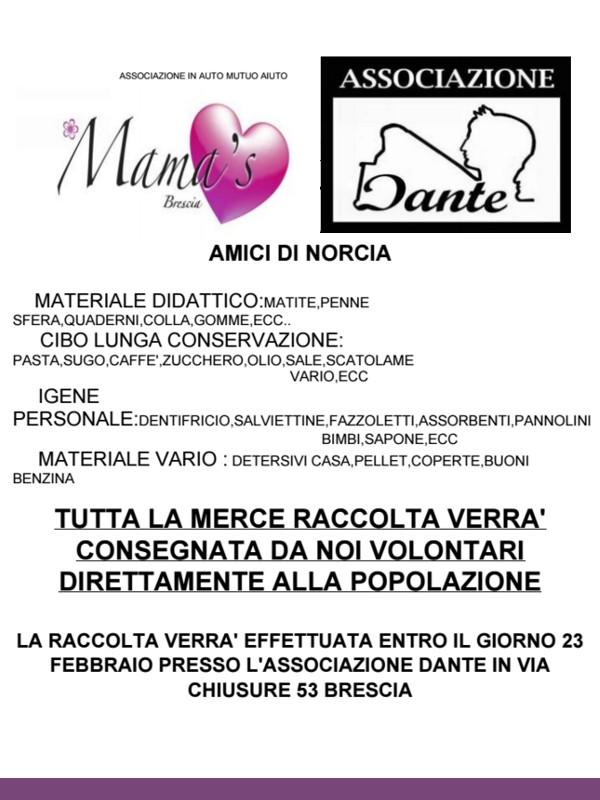 Amici di Norcia @ punto ritiro Associazione Dante   Brescia   Lombardia   Italia