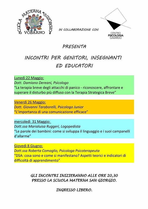 Incontri per genitori @ Scuola Materna S. Giorgio  | Vobarno | Lombardia | Italia