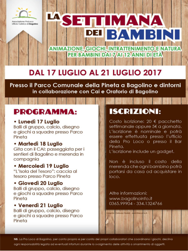 La settimana dei bambini @ Parco comunale Pineta di Bagolino | Bagolino | Lombardia | Italia