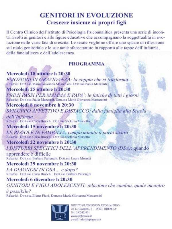Genitori in evoluzione: crescere insieme ai propri figli @ Centro Clinico dell'Istituto di Psicologia Psicoanalitica | Brescia | Lombardia | Italia
