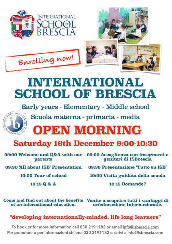 Open morning International School of Brescia @ International School of Brescia   Botticino   Lombardia   Italia