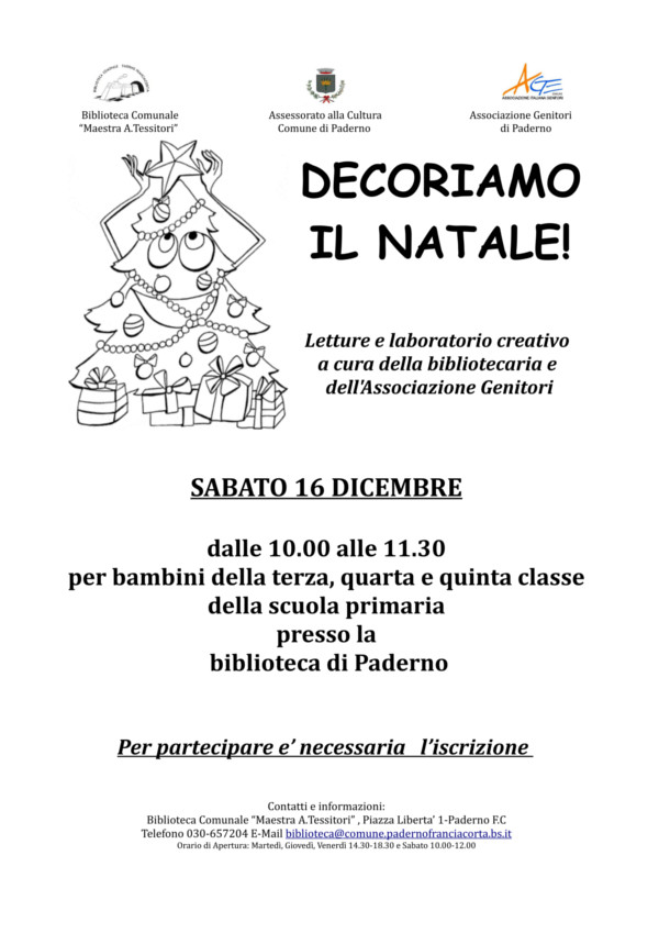 Decoriamo il Natale @ Biblioteca Paderno Franciacorta | Paderno Franciacorta | Lombardia | Italia