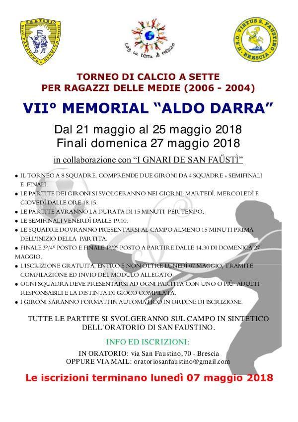 VII°  Memorial Aldo Darra @ Oratorio San Faustino Brescia | Brescia | Lombardia | Italia