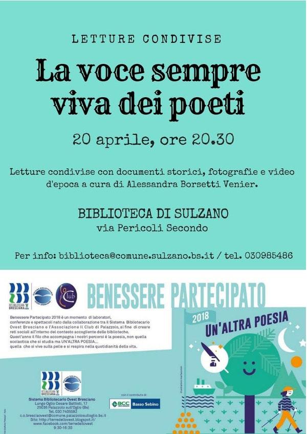 La voce sempre viva dei poeti - Benessere partecipato @ Biblioteca di Sulzano | Sulzano | Lombardia | Italia