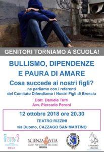 Genitori torniamo a scuola - Bullismo e Paura di amare @ Teatro Rizzini Cazzago | Cazzago San Martino | Lombardia | Italia