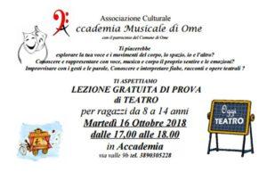 Lezione di prova - teatro ragazzi @ Accademia Musicale di Ome | Ome | Lombardia | Italia