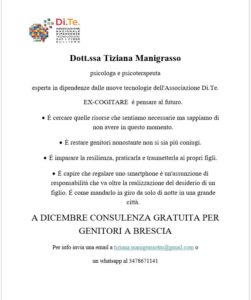 Consulenza gratuita a dicembre per genitori @ studio dott.ssa Manigrasso | Brescia | Lombardia | Italia