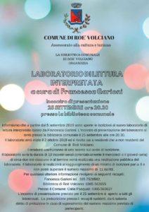 Lettura interpretata @ Biblioteca Roè Volciano | Lombardia | Italia