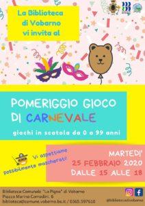 Pomeriggio gioco di Carnevale a Vobarno @ Biblioteca Vobarno | Vobarno | Lombardia | Italia