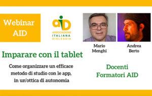 Imparare con il tablet @ webinair online