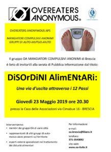 Disordini alimentari @ Casa delle Associazioni Brescia