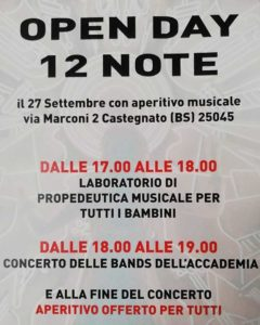 12 note - open day @ vedi testo