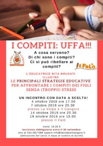 Compiti: strategie educative per genitori @ Centro il Falò