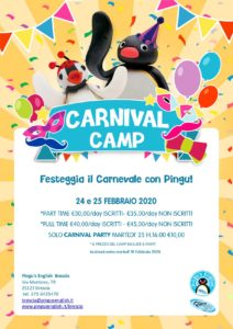 Carnival Party&Camp al Pingu's English @ Pingu's English Brescia